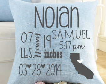 Baby Boy Personalized Birth Announcement Pillow- New Baby, Baby Gift, Baby Boy, All About Me Pillow, Announcement Pillow