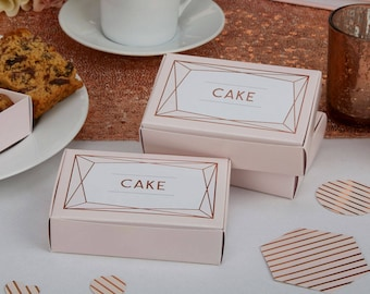 Rose Gold Stylish Cake Favour Boxes Weddings Christening Baby Shower Hen Party