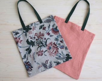 Bags Set, Set of Two Bags, Floral Bag, Pink Bag, Market Tote, Eco Bags, Reusable Tote, Linen Tote, Shopping Bag, Floral Linen, Eco Friendly