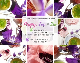Flower Photo Bundle, Floral Bundle, Images For Designers, Styled Photo Shoot, Digital Photo For Designers, Printable Floral Cover, Flat Lay