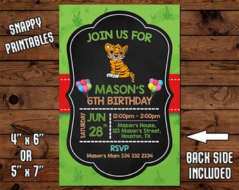 Tiger Birthday Invitation, Birthday Invite, Party Invite, Printable, Digital File - 62