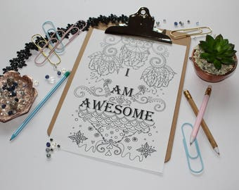Mindfulness colouring page I am awesome