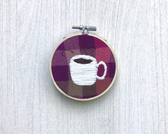Coffee hand embroidery, java embroidered hoop art, coffee embroidery design, java embroidery hoop, coffee embroidery gift