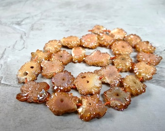Peach Stalactite druzy crystal nuggets/13x13-18x14mm/7 inches long
