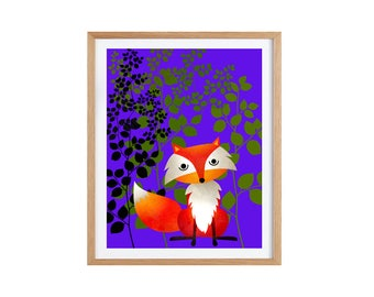 Fox illustration Giclee print 21 x 29.7 cm