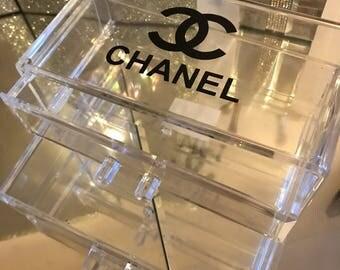 Chanel inspired make up organiser box. 2 drawers. Designer inspired logo. ONLY ONE!