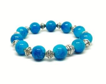 Blue Mottle Effect Glass Beads Bracelet