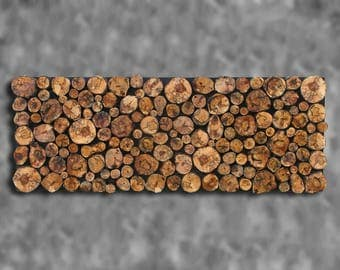 IN STOCK 18x48 Spalted Maple Tree Branch Slice Wooden Wall Sculpture Hanging Tree Branch Wall Art Rustic Tribal Modern Primitive Decor