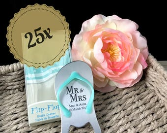 "25x Personalised Engraved ""Pop the Top"" Flip Flop Bottle Opener - Wedding Favours"