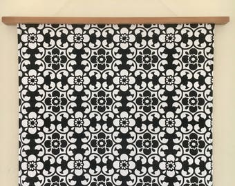 Retro Black and White / Vintage fabric / Handmade /Fabric wall hanging / Wall Art / Wall Decor / Sustainable / Eco-friendly /Retro wall art