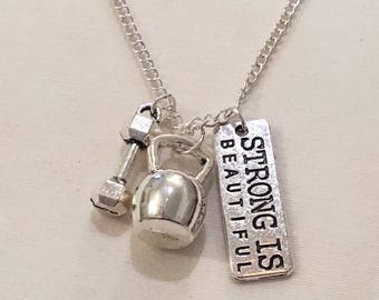 Strong is Beautiful, Kettlebell, Dumbbell Charm, Fitness Necklace, Gym Jewelry, Motivational Jewelry, Fitness Charms, Bodybuilding, Gifts,