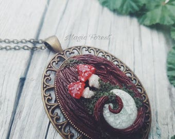Magic mushroom Necklace Polymer Clay Pendant Talisman Amanita Muscaria Mushroom Talisman Sorceress Shaman Magic forest