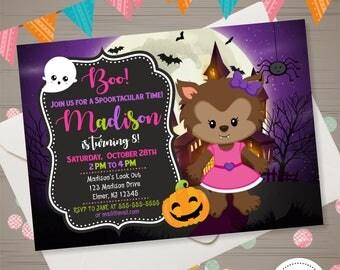 Werewolf Invitation Halloween Birthday Invitation Girl Halloween Invite Werewolf Halloween Invitation Halloween Party Costume Party Invite