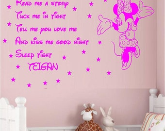 Minnie mouse read me a story tuck me in tight bedroom nursery wall art sticker