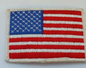 """Vintage American Flag Patch Embroidered Patch white boarder 3 1/4"""" × 2 1/4"""" Red White blue American Apparel Applique"""
