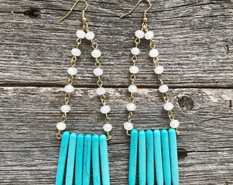 Turquoise & Rosary Drop Earrings