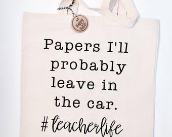 Teachelife Tote-Teacher bag-Funny Bag-Canvas Reusable Tote