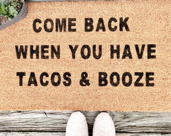 Tacos and Booze Door Mat-Funny Welcome Mat-Housewarming Gift