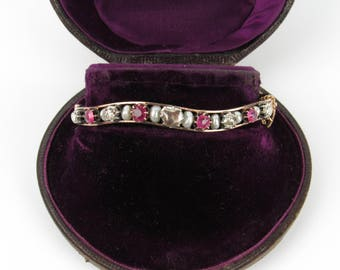 Antique Victorian Rose Cut Diamond, Ruby and Pearl Bangle Bracelet