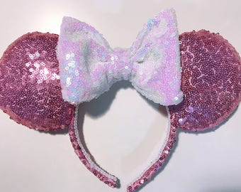 Pink/White Sequin Ears