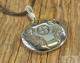 Colgante con Sirins, joyas eslavas, Medieval colgante, colgante pagano, antiguo colgante, colgante Tribal, Solar, SCA, LARP, Swastika, amuleto