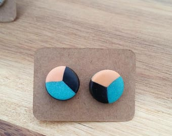 Small Teal and Orange Studs