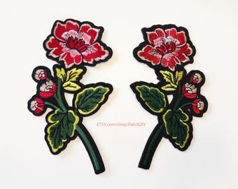 2X Flowers red pink rose PATCH set  Iron On Embroidered Applique love shabby DIY jacket vintage retro flower romantic tattoo