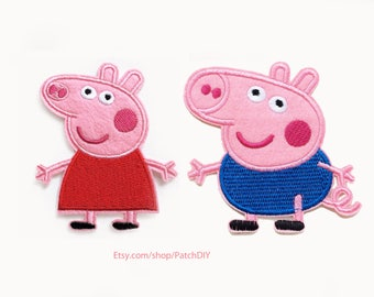 2x PEPPA PIG + little Brother GEORGE patch custom Iron On Embroidered Applique cartoon pink red fun kid diy project dress shoes hat t-shirt