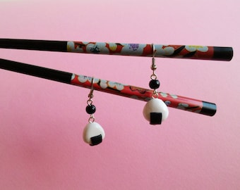 Earrings polymer clay miniature food jewelry earrings Japanese food sushi onigiri