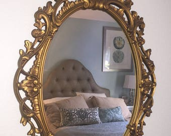 Vintage Gold Turner Mirror..Paris Apartment Style..Shabby Chic Style.