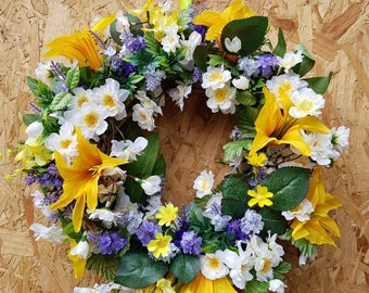 Spring wreath, flower wreath, floral wreath, wall decor, door decor, lavender wreath, yellow Wreath, spring flowers, mothers day gift