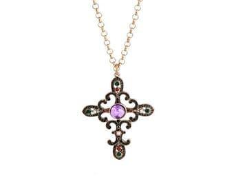 Cross Pendant Necklace, Crucifix necklace, Purple Cross Necklace, Antique Cross necklace, Antique Crucifix
