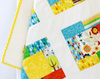 Crib quilt girl, baby girl quilt, teal, yellow, navy, red, modern patchwork baby quilt, whimsical flowers, stars, raindrops, homemade quilt