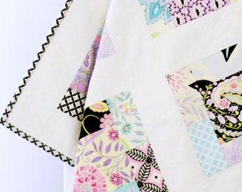 Modern quilt baby girl, toddler quilt, baby crib quilt, modern baby quilt, purple, black, yellow, blue, patchwork baby quilt