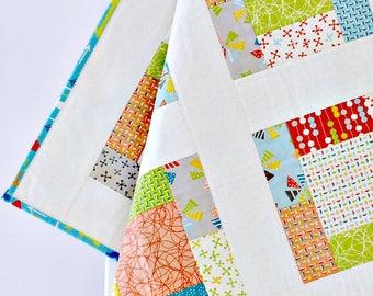 Baby Quilt Arrows, Baby Crib Bedding, Aqua, Nursery Quilt Crib, greenery, blue, teal, orange, Geometric, Modern, Patchwork Crib Quilt, Boy