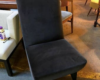 Vintage Brown Velvet Long Back MOD Chair. Chicago based designer