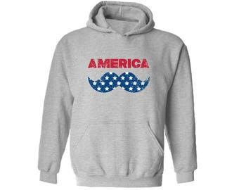 America Flag Mustache Hooded Sweatshirt Hoodie  Patriotic Hipster Independence Day 4th of July