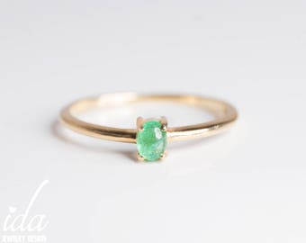 14K Solid Gold Emerald Ring - Emerald Jewelry - Emerald Engagement Ring - Gemstone Ring - Natural Emerald Ring - Handmade Jewelry, Jewellery