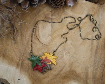 Autumn maple leaf / maple leaves necklace, polymer clay jewelry