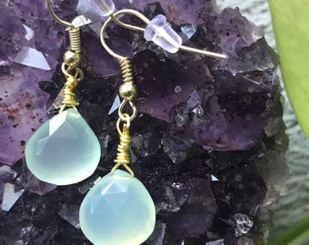 Aquamarine briolette earrings