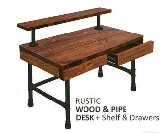 desk with drawers and shelf rustic wood u0026 pipe industrial desk iron pipe