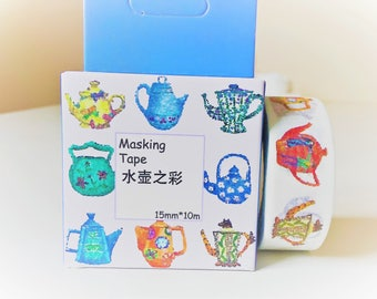 Tea pot washi tape, kawaii washi tape, decorative tape, adhesive tape, washi tape uk, masking tape