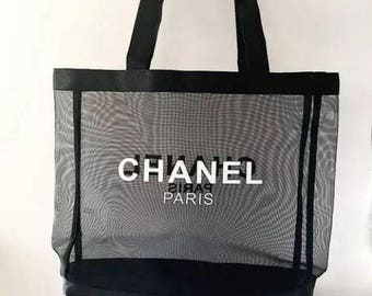 Chanel Black Mesh Canvas Makeup Tote Bag VIP GIFT