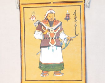 Genghis Khan Painting on leather 31x64cm