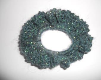 Pretty scrunchie hair crocheted by hand with a gradient dark blue and grey mohair and acrylic yarn