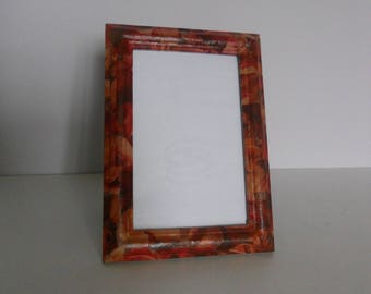 Frame 13 x 18 wooden standing or hang, decorated by paper glaze