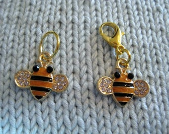 Bee progress keeper knitting or  crochet stitch marker or zipper pull with 14mm lobster claw clasp