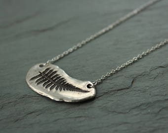 Silver fern necklace