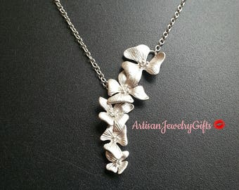 Matte Silver Orchids Necklace Silver Cascading Orchids Lariat Necklace Silver Orchid Necklace Bridal Necklace Bridesmaid Necklace