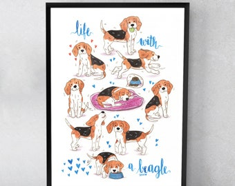 Life With A Beagle - Various Dimensions - ART PRINT ; Watercolor Painting ; Wall art